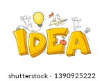 sketch of word idea with happy... | Shutterstock .eps vector #1390925222