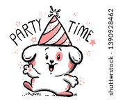cartoon party time cute animal... | Shutterstock .eps vector #1390928462