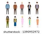 set of full body diverse... | Shutterstock .eps vector #1390952972