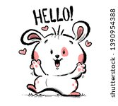hello cute animal funny dog...   Shutterstock .eps vector #1390954388