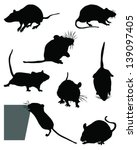 Silhouette Of Mice  Vector