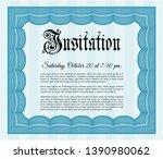 light blue retro invitation.... | Shutterstock .eps vector #1390980062