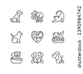 outline icons about pets. dogs... | Shutterstock .eps vector #1390984742