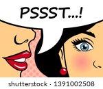 Retro Woman Whispering Gossip...