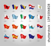 flags southern europe on silver ... | Shutterstock .eps vector #1391006828