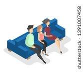 family sitting on the blue...   Shutterstock . vector #1391007458