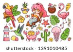 set of cute funny summer... | Shutterstock .eps vector #1391010485