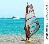 windsurfer  blue sea and... | Shutterstock . vector #139102976