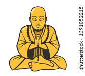 vector religious icon of buddha ... | Shutterstock .eps vector #1391052215