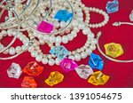 top view of jewelry and... | Shutterstock . vector #1391054675