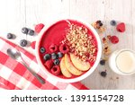 smoothie bowl for healthy... | Shutterstock . vector #1391154728