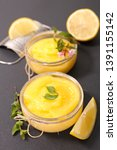 lemon curd  lemon cream in pot | Shutterstock . vector #1391155142