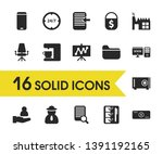 trade icons set with office...