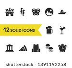 sunny icons set with castle ...