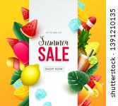 summer sale background with... | Shutterstock .eps vector #1391210135