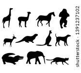 set animal logo vector black... | Shutterstock .eps vector #1391237102