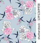 vector flowers pattern on grey...   Shutterstock .eps vector #1391269958