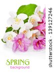 pink flowers with fresh green... | Shutterstock . vector #139127246