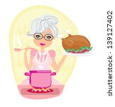 grandmother cooking soup and... | Shutterstock .eps vector #139127402