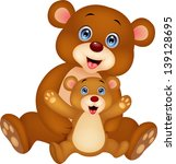 mother and baby bear cartoon | Shutterstock .eps vector #139128695