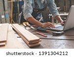 carpenter working with... | Shutterstock . vector #1391304212