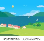 Landscape with village rural houses on seaside cartoon. Hand drawn sunny day in rural community on lake bank. Flat vector summer seascape. Sailing boat on calm water. Vacation travel to sea background - stock vector