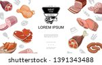 cartoon meat food colorful... | Shutterstock .eps vector #1391343488
