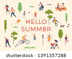'hello summer' banner  poster... | Shutterstock .eps vector #1391357288