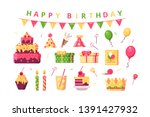 happy birthday symbols set... | Shutterstock .eps vector #1391427932