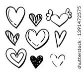 set of doodles hearts. grunge... | Shutterstock .eps vector #1391472575