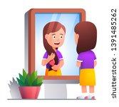 girl kid brushing hair with... | Shutterstock .eps vector #1391485262