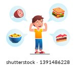 food makes child growing strong ... | Shutterstock .eps vector #1391486228