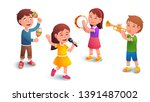 kids music band playing... | Shutterstock .eps vector #1391487002