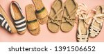 Stock photo variety of trendy woman s summer shoes flat lay of espadrilles sandals flip flops made of 1391506652