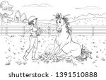 cartoon style girl with horse.... | Shutterstock .eps vector #1391510888