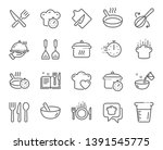 cooking line icons. boiling... | Shutterstock .eps vector #1391545775