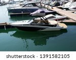 yacht parked in the seaport. | Shutterstock . vector #1391582105