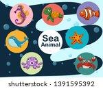 cute cartoon sea animals... | Shutterstock .eps vector #1391595392
