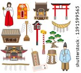 japanese temple icon set on...   Shutterstock .eps vector #1391599565