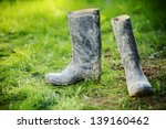 wellington dirty boots on... | Shutterstock . vector #139160462