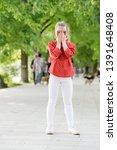 happy hiding game outdoors.... | Shutterstock . vector #1391648408