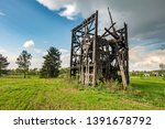 remains of old burnt windmill... | Shutterstock . vector #1391678792