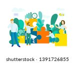 business concept with puzzle.... | Shutterstock .eps vector #1391726855