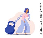 woman pulling a heavy weight on ... | Shutterstock .eps vector #1391773982