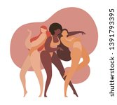 three women of different races  ... | Shutterstock .eps vector #1391793395