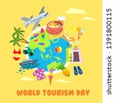 world tourism day graphic and... | Shutterstock .eps vector #1391800115