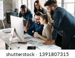 young architects working on... | Shutterstock . vector #1391807315