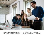 young architects working on... | Shutterstock . vector #1391807462
