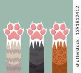 paws up pets cats set design... | Shutterstock . vector #1391812412