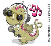 cool cartoon cute dragon with... | Shutterstock .eps vector #1391841995